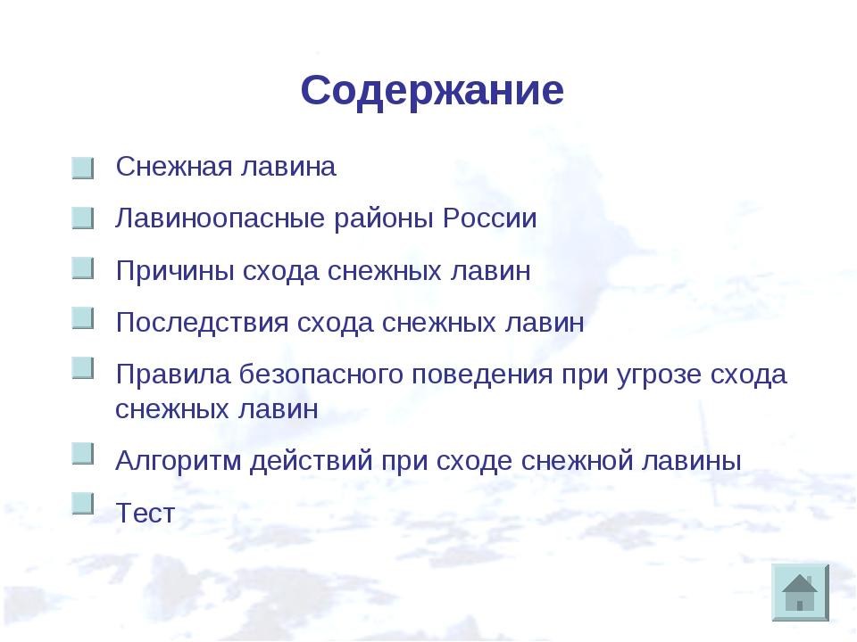 Содержание Снежная лавина Лавиноопасные районы России Причины схода снежных л...