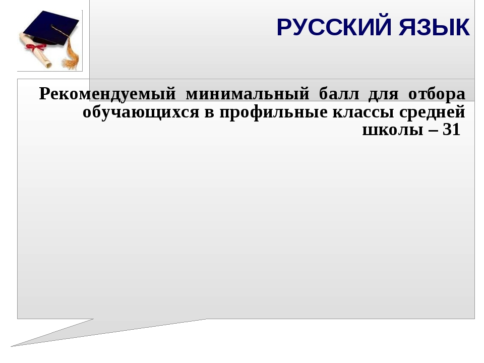 РУССКИЙ ЯЗЫК Рекомендуемый минимальный балл для отбора обучающихся в профиль...