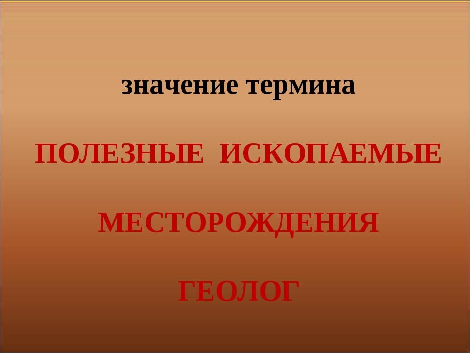 значение термина ПОЛЕЗНЫЕ ИСКОПАЕМЫЕ МЕСТОРОЖДЕНИЯ ГЕОЛОГ