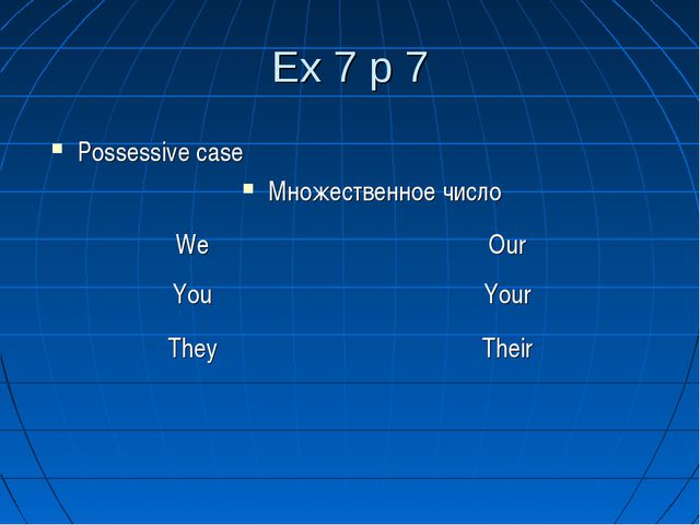 Ex 7 p 7 Possessive case Множественное число