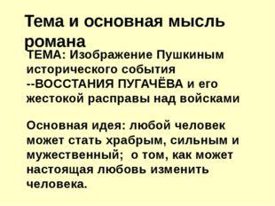 ТЕМА: Изображение Пушкиным исторического события --ВОССТАНИЯ ПУГАЧЁВА и его ж