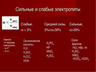 Сильные и слабые электролиты Зависит: от природы электролита от t ° от с Соли