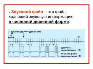 . Звуковой файл – это файл, хранящий звуковую информацию в числовой двоичной