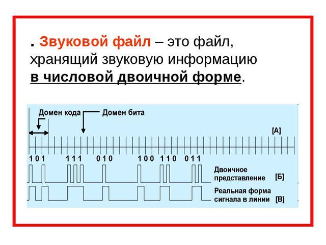 . Звуковой файл – это файл, хранящий звуковую информацию в числовой двоичной...