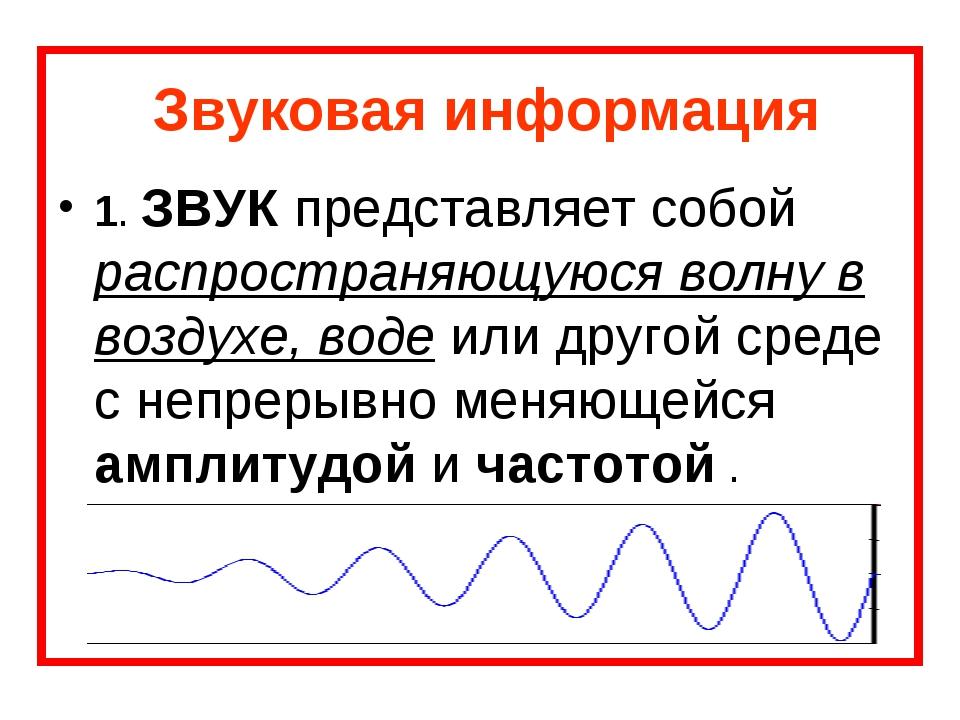 Звуковая информация 1. ЗВУК представляет собой распространяющуюся волну в воз...