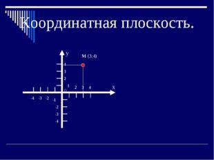 Координатная плоскость. X О y -4 -3 -2 -1 2 3 4 1 2 3 4 -2 -3 -4 М (3;4)