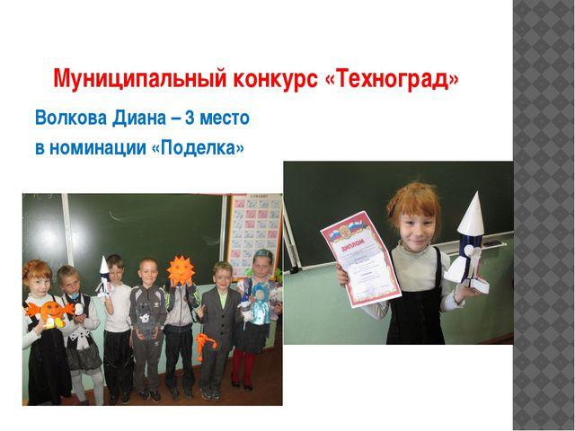Муниципальный конкурс «Техноград» Волкова Диана – 3 место в номинации «Поделка»