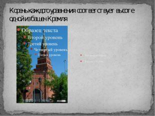 Корень каждого уравнения соответствует высоте одной из башен Кремля Боровицка