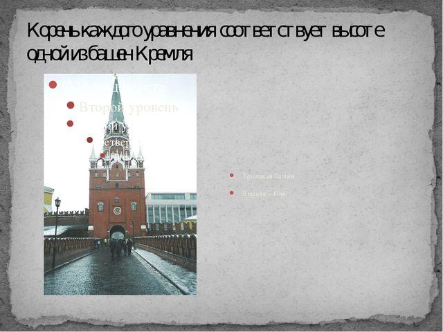 Корень каждого уравнения соответствует высоте одной из башен Кремля Троицкая...
