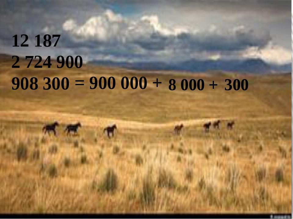 12 187 2 724 900 = 900 000 + 8 000 + 300 908 300