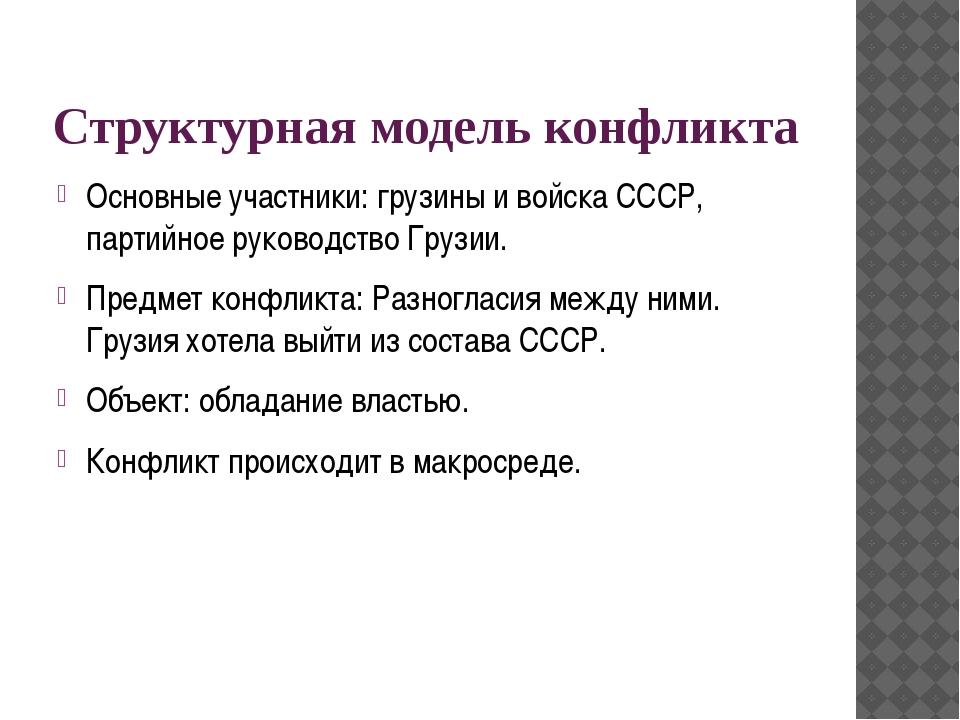 Структурная модель конфликта Основные участники: грузины и войска СССР, парти...