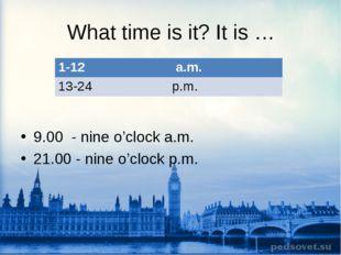 What time is it? It is … 9.00 - nine o'clock a.m. 21.00 - nine o'clock p.m. 1
