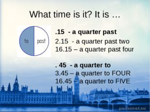 What time is it? It is … .15 - a quarter past 2.15 - a quarter past two 16.15