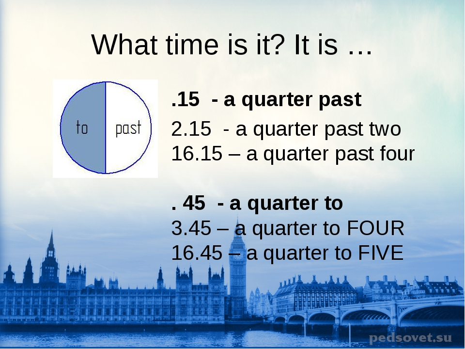 What time is it? It is … .15 - a quarter past 2.15 - a quarter past two 16.15...