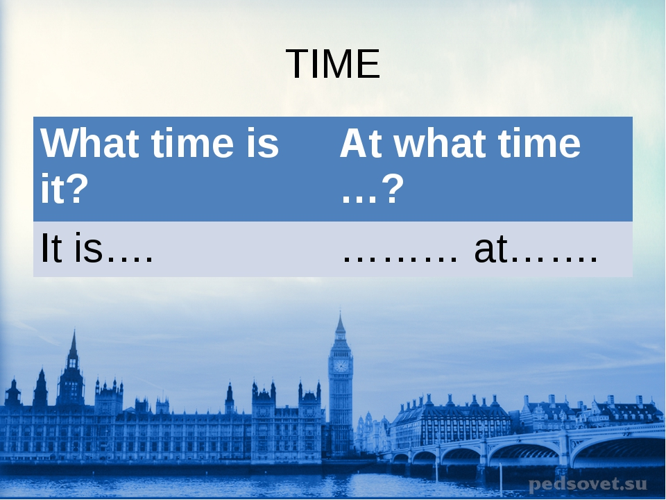 TIME What time is it?At what time …? It is….……… at…….