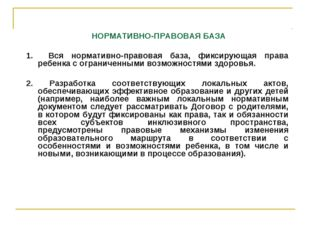 НОРМАТИВНО-ПРАВОВАЯ БАЗА 1. Вся нормативно-правовая база, фиксирующая права
