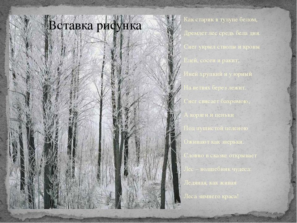Как старик в тулупе белом, Дремлет лес средь бела дня. Снег укрыл стволы и кр...