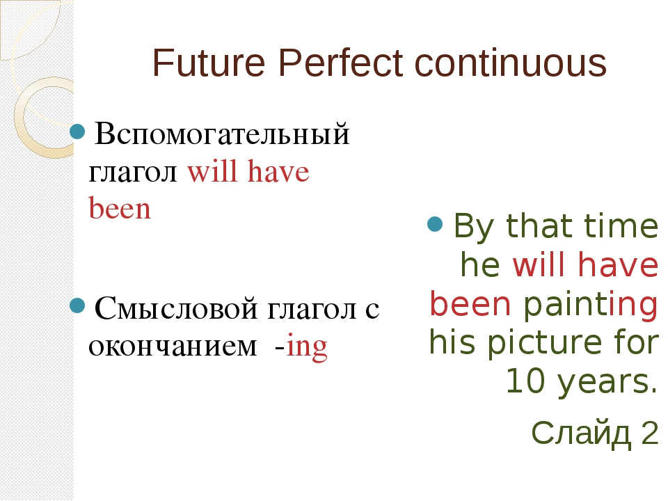 Future Perfect continuous Вспомогательный глагол will have been Смысловой гла...