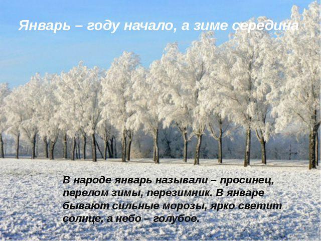 Январь – году начало, а зиме середина В народе январь называли – просинец, п...