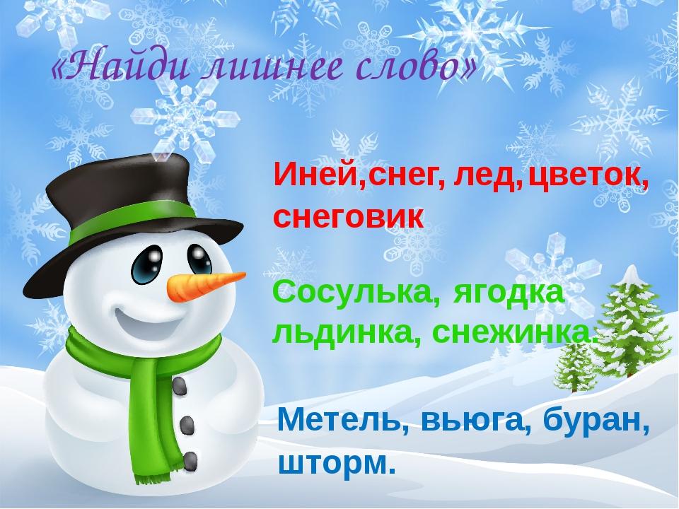 «Найди лишнее слово» Иней, Сосулька, льдинка, снежинка. Метель, вьюга, буран,...
