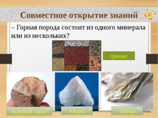 Совместное открытие знаний – Горная порода состоит из одного минерала или из