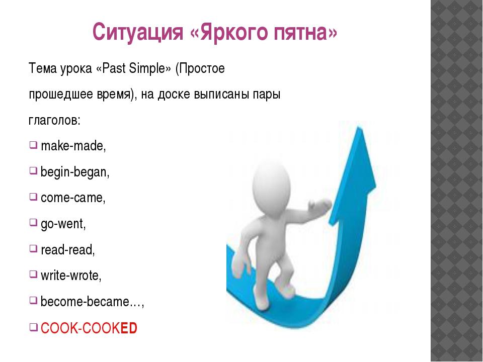 Ситуация «Яркого пятна» Тема урока «Past Simple» (Простое прошедшее время), н...