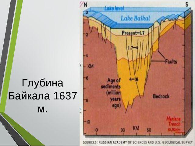 Глубина Байкала 1637 м. *