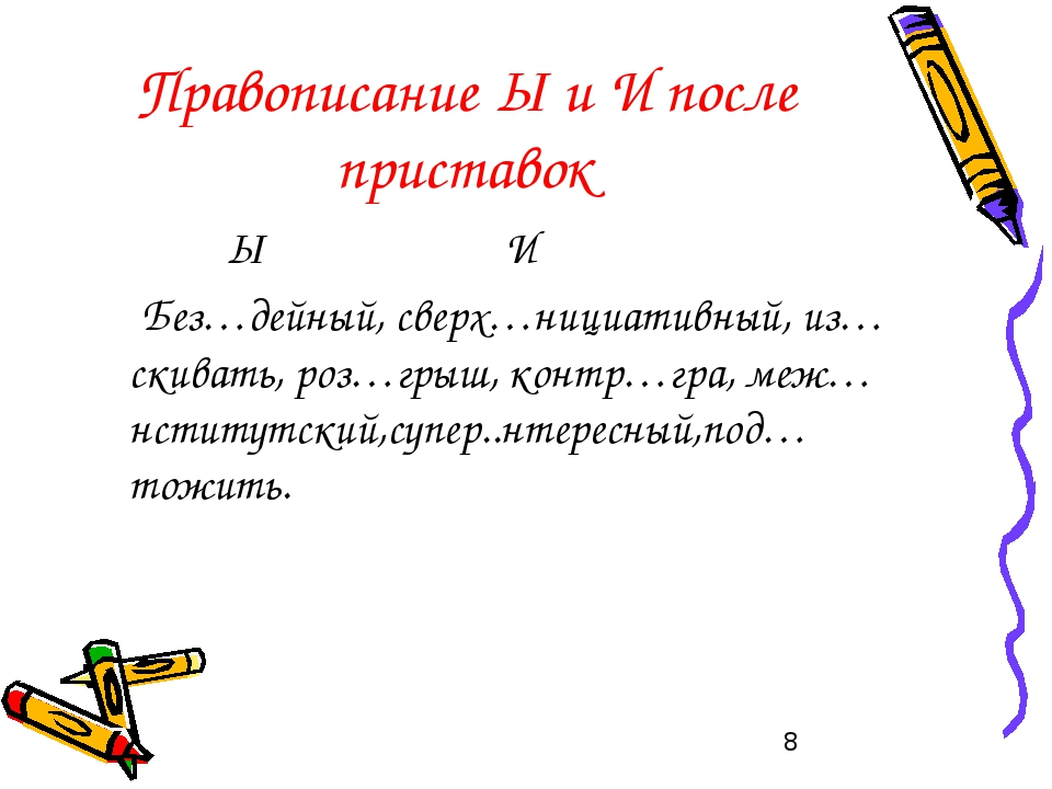 Правописание Ы и И после приставок Ы И Без…дейный, сверх…нициативный, из…скив...