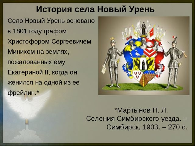 История села Новый Урень Село Новый Урень основано в 1801 году графом Христоф...