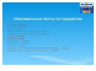Максимальные баллы по предметам Русский язык —39 баллов Математика —38 балл