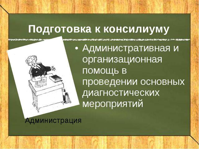 Подготовка к консилиуму Административная и организационная помощь в проведени...