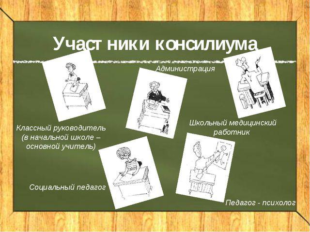 Участники консилиума Педагог - психолог Классный руководитель (в начальной шк...