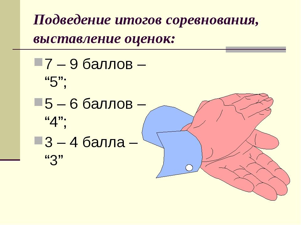 """Подведение итогов соревнования, выставление оценок: 7 – 9 баллов – """"5""""; 5 – 6..."""