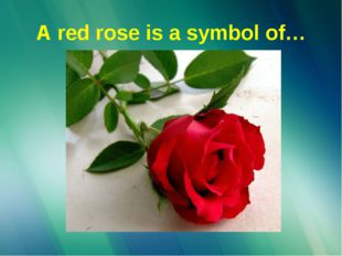 A red rose is a symbol of…