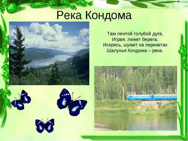 Река Кондома Там лентой голубой дуга, Играя, лижет берега. Искрясь, шумит на...