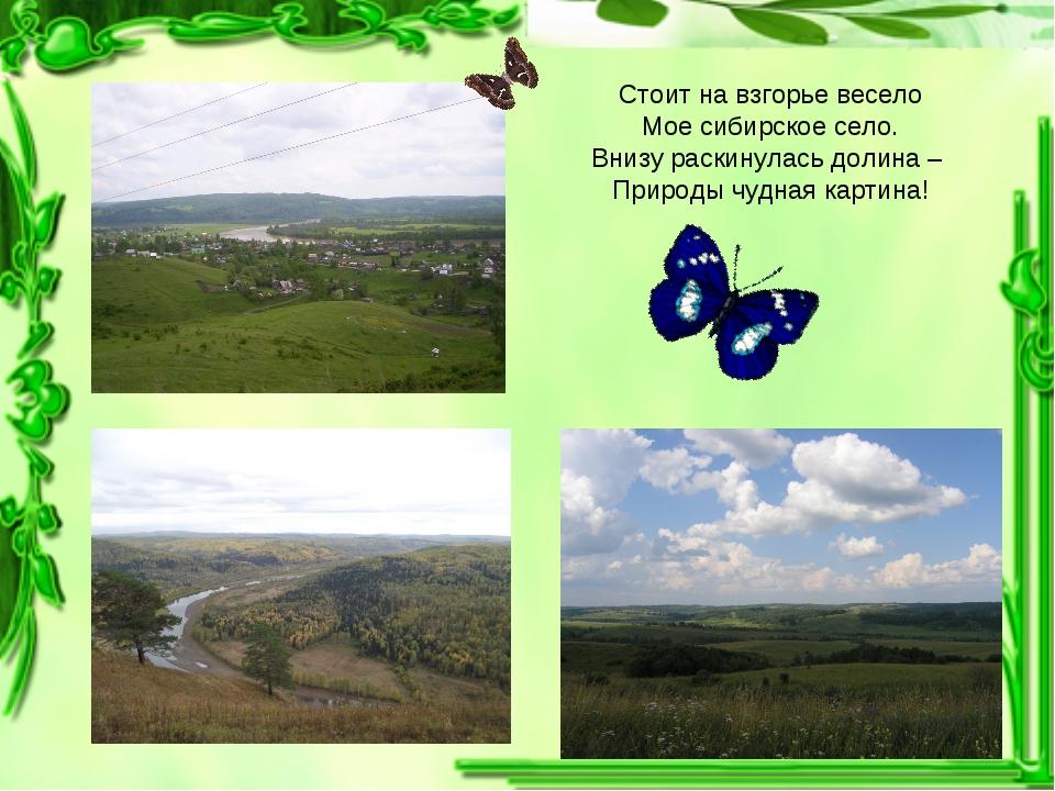 Стоит на взгорье весело Мое сибирское село. Внизу раскинулась долина – Природ...