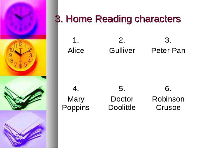 3. Home Reading characters