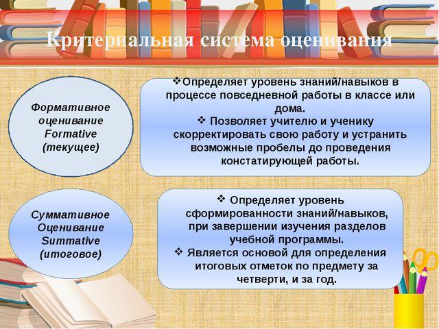 Критериальная система оценивания Формативное оценивание Formative (текущее) С...