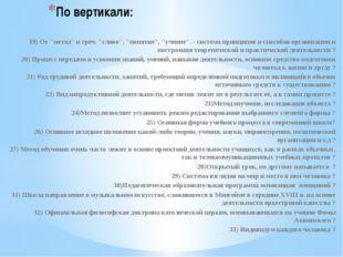 """По вертикали: 19) От """"метод"""" и греч. """"слово"""", """"понятие"""", """"учение"""". - система"""