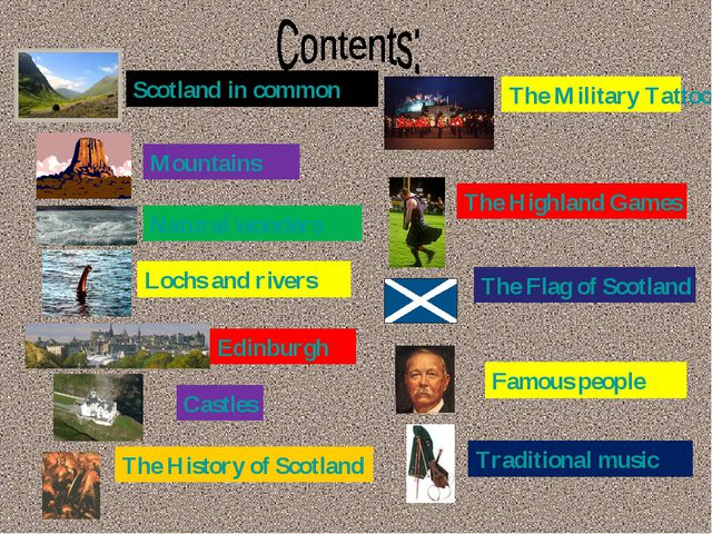 Scotland in common Mountains Natural wonders Lochs and rivers Edinburgh Castl...