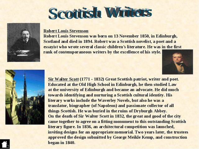 Robert Louis Stevenson Robert Louis Stevenson was born on 13 November 1850, i...