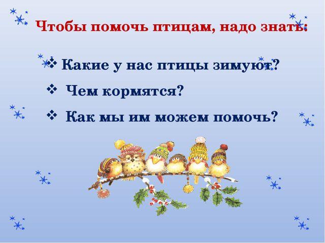 Чтобы помочь птицам, надо знать: Какие у нас птицы зимуют? Чем кормятся? Как...