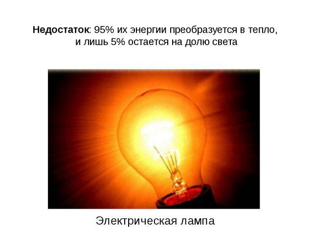 Недостаток: 95% их энергии преобразуется в тепло, и лишь 5% остается на долю...
