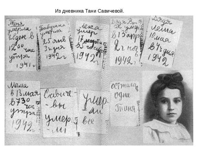 Из дневника Тани Савичевой.