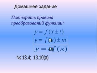 Домашнее задание Повторить правила преобразований функций: