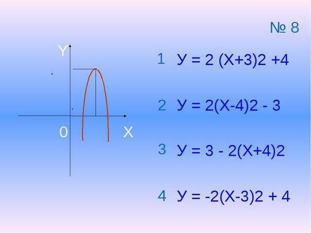 4 3 У = 2 (Х+3)2 +4 У = 2(Х-4)2 - 3 У = 3 - 2(Х+4)2 У = -2(Х-3)2 + 4 1 2 3 4...