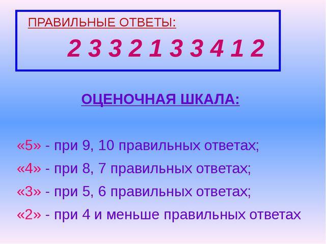 ПРАВИЛЬНЫЕ ОТВЕТЫ: 2 3 3 2 1 3 3 4 1 2 ОЦЕНОЧНАЯ ШКАЛА: «5» - при 9, 10 прави...