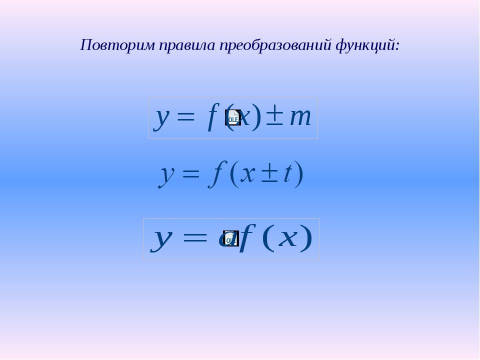 Повторим правила преобразований функций:
