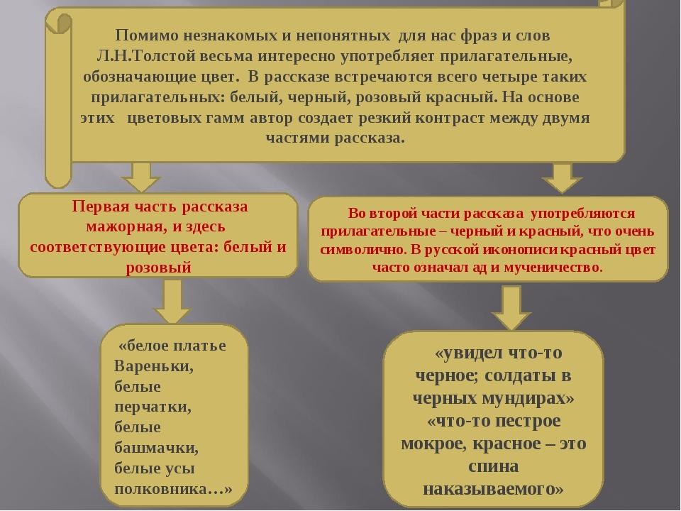 Помимо незнакомых и непонятных для нас фраз и слов Л.Н.Толстой весьма интерес...