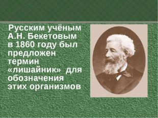 Русским учёным А.Н. Бекетовым в 1860 году был предложен термин «лишайник» дл